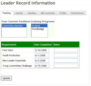 Screen shot of the new scout leader tracking page.