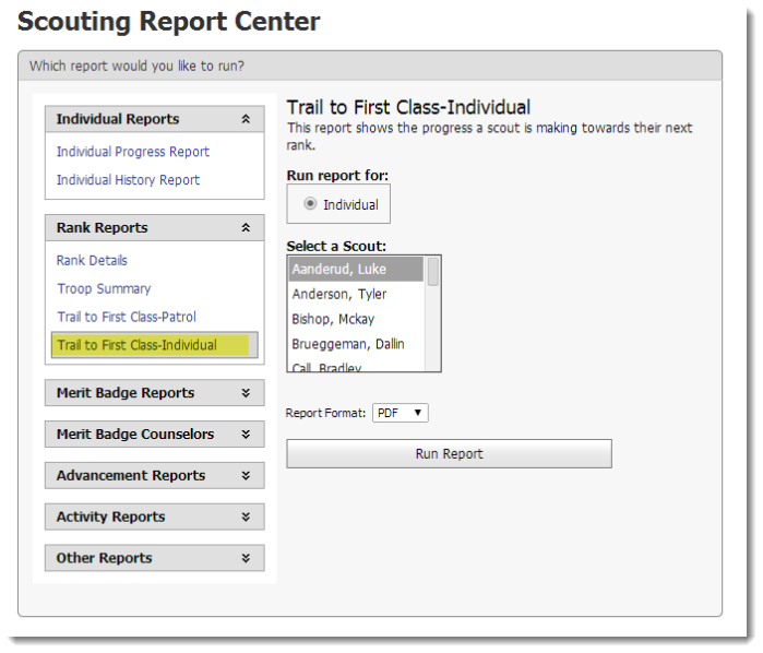 Report Center that contains all of the availabe scouting reports.